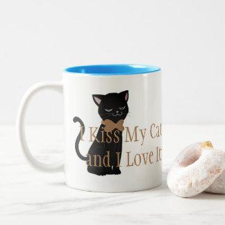 Coffee Mug-I Kiss My Cat and I Love It Two-Tone Coffee Mug
