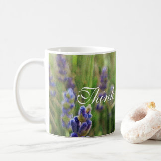 "Coffee Mug Lavender with ""Think Positive! "" meme"