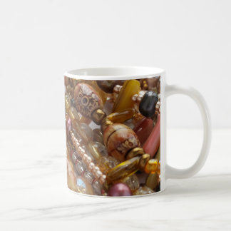 Coffee Mug- Natural Earthtone, Amber & Bronze Bead Coffee Mug