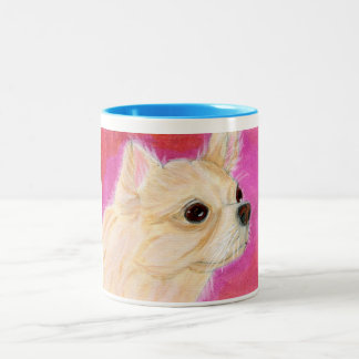 Coffee Mug Shot - Longhair Chihuahua - Pink Wall