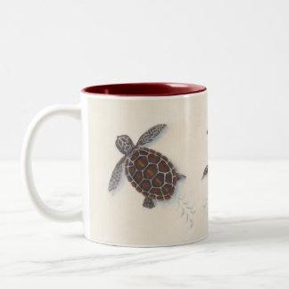 Coffee mug with baby sea turtles