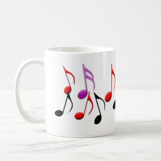 Coffee Mug with Bright Musical Notes