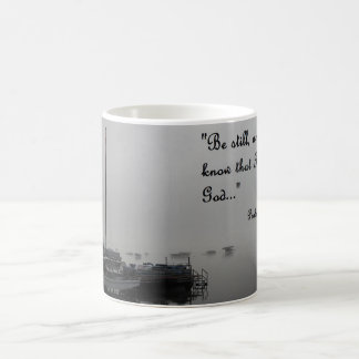 coffee mug with calm dock scene