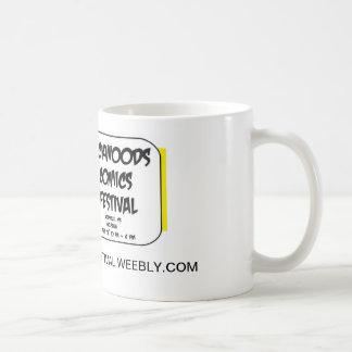 Coffee mug with comics festival logo