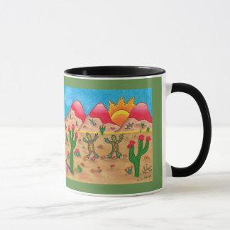 Coffee mug with dancing geckos
