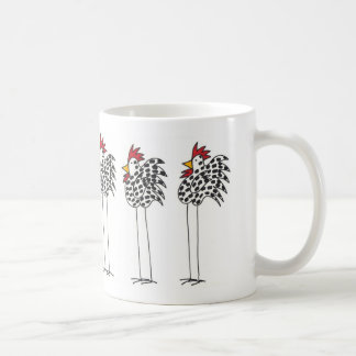 Coffee mug with fun chickens circling.
