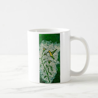 Coffee Mug with Humming bird and Thistle