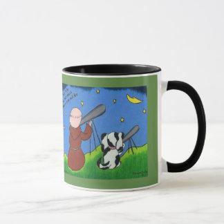 Coffee mug with monk and dog