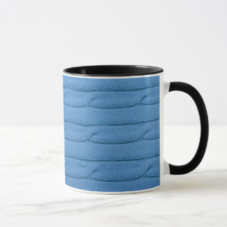 Coffee Mug with natural blue knitted textile