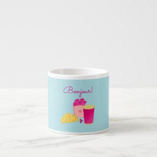 Coffee mug with pink style breakfast design