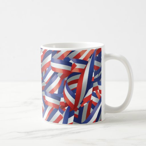 Coffee Mug with Ribbons in Red, White, and Blue