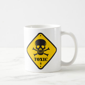 "Coffee mug with ""Toxic"" signage"