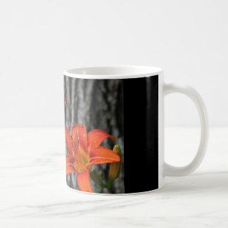 coffee mug with two orange lilies