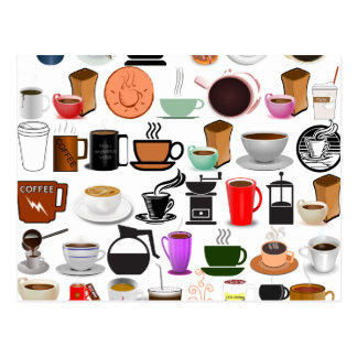 Coffee Mugs (Add Background Color) Postcard