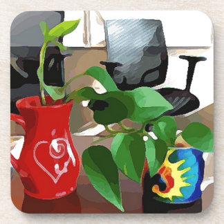 Coffee Mugs and Plants Coaster
