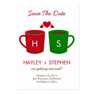 Coffee Mugs Save The Date Card