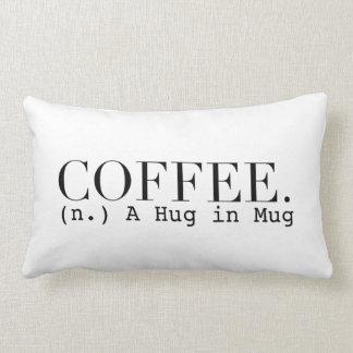 Coffee (n.) A Hug in a Mug | Chic Typography Lumbar Pillow