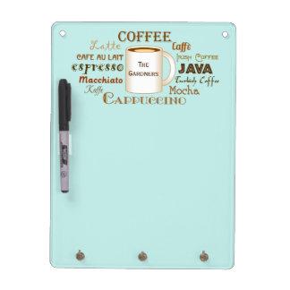 Coffee Names Aqua Personalized Dry Erase Board
