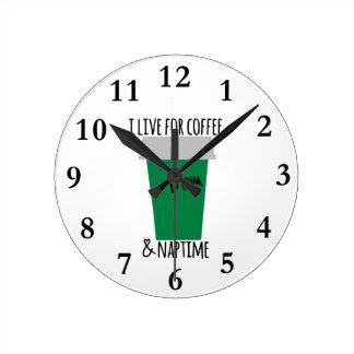 Coffee & Naptime Life Round Clock