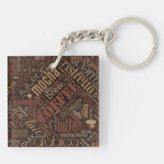 Coffee on Burlap Word Cloud Brown ID283 Double-Sided Square Acrylic Keychain