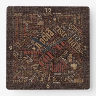 Coffee on Burlap Word Cloud Brown ID283 Wall Clocks