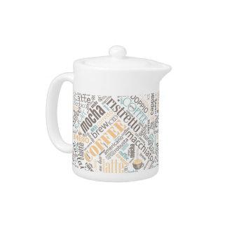 Coffee on Burlap Word Cloud Teal ID283