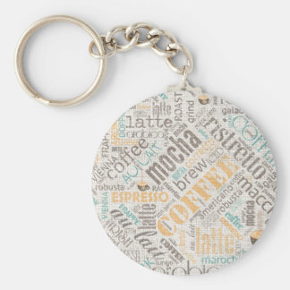 Coffee on Burlap Word Cloud Teal ID283 Basic Round Button Keychain