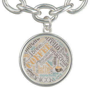 Coffee on Burlap Word Cloud Teal ID283 Charm Bracelet