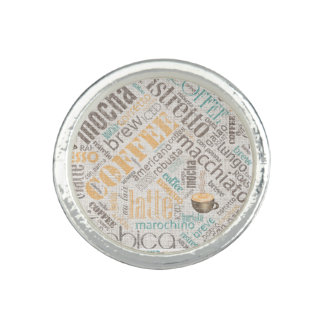 Coffee on Burlap Word Cloud Teal ID283 Photo Rings