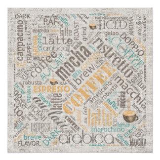 Coffee on Burlap Word Cloud Teal ID283 Poster