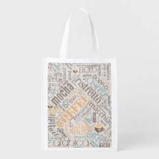 Coffee on Burlap Word Cloud Teal ID283 Reusable Grocery Bag