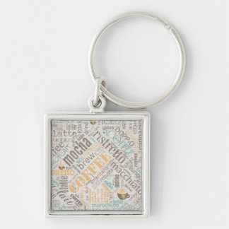 Coffee on Burlap Word Cloud Teal ID283 Silver-Colored Square Keychain