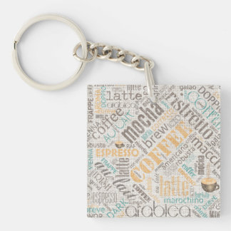 Coffee on Burlap Word Cloud Teal ID283 Single-Sided Square Acrylic Keychain