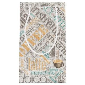 Coffee on Burlap Word Cloud Teal ID283 Small Gift Bag