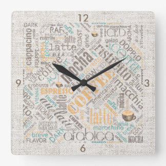 Coffee on Burlap Word Cloud Teal ID283 Square Wall Clock