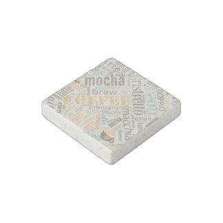 Coffee on Burlap Word Cloud Teal ID283 Stone Magnets