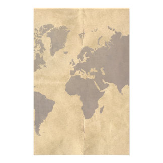 Coffee on Paper Style World Map Customized Stationery