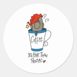 Coffee or Prozac Classic Round Sticker