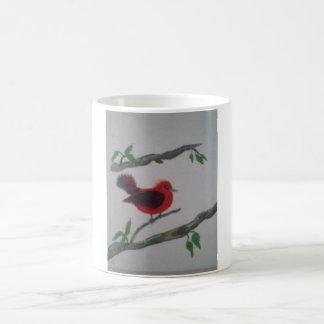 coffee or tea with a beautiful red bird coffee mug