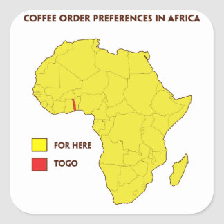 Coffee order preference in Africa Square Sticker