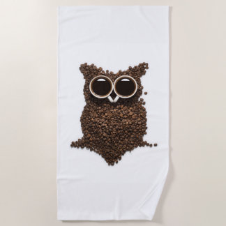 Coffee Owl Beach Towel