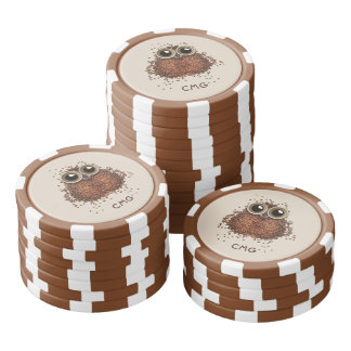 Coffee Owl custom monogram poker chips