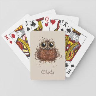 Coffee Owl custom name playing cards