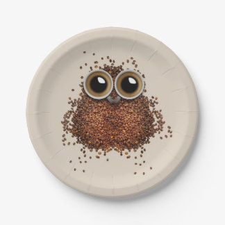 Coffee Owl paper plates