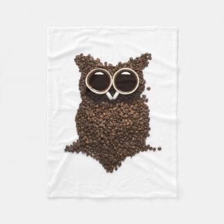 Coffee Owl Small Fleece Blanket