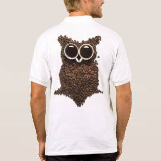 Coffee Owl White Polo Shirt