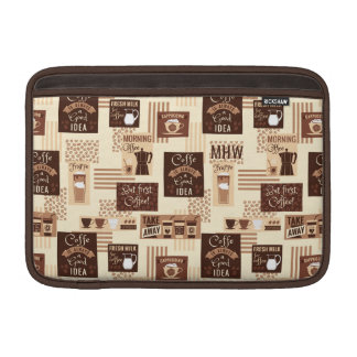 Coffee Pattern custom monogram Macbook sleeves