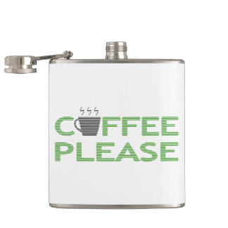 Coffee please - green and black. hip flask