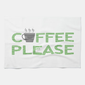 Coffee please - green and black. kitchen towel