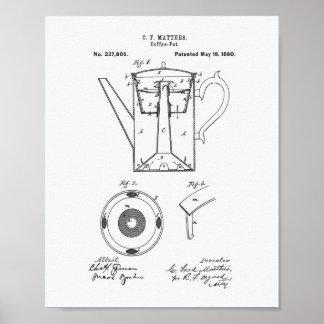 Coffee Pot 1880 Patent Art White Paper Poster